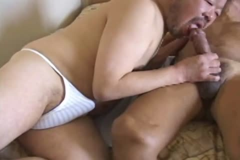 oriental daddy man Has His monstrous rod Sucked By tasty Daddy Bear