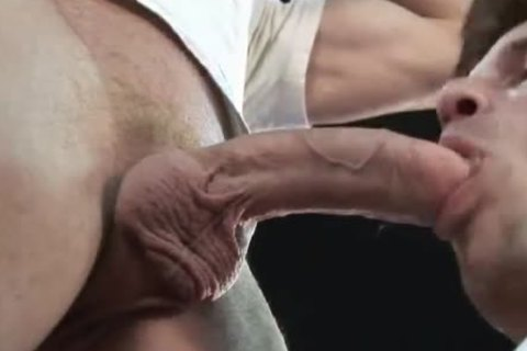 dad's tongue, fingers and biggest penis in JEANS ass