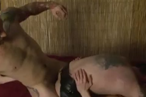 Tattooed homo Double anal opening - Factory clip scene