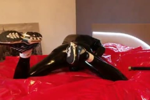 young jerking off In darksome Latex fine Very Very large rod
