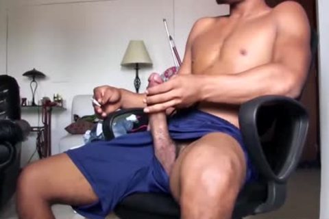 humongous Dicked handsome Latino guy Is Working His humongous Load
