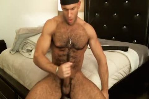 good Looking hairy dude Sean Zevran Enjoys A sex toy And Cums Twice