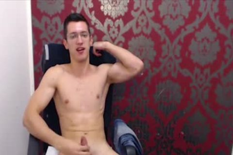twink With Glasses Wanks His large Uncut weenie