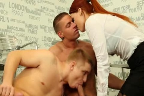 Redhead beauty blowing cock For lad Getting fucked