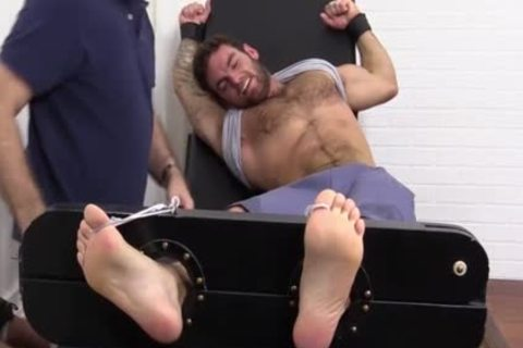 Flaming brunette hair Hunk fastened Up And Getting Foot Tortured For joy HD dirt Taped - SpankBang