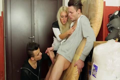 Blode And Two males With Some Bi Action