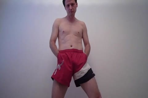 Jonathan Fredlund In Red Shorts Playing With His weenie