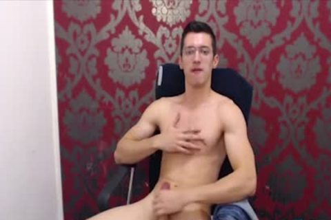 twink With Glasses Jerks Off His large Uncut weenie