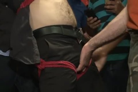 Tattoo homosexual fastened With cumshot
