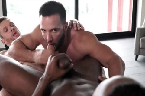 Muscle homosexual three-some And Facial