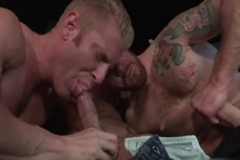 Muscle Bear threesome And anal goo flow