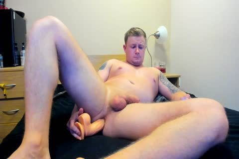beefy British guy Plays With dildo On web camera