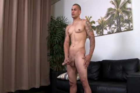 Hung pumped up Hunk Stroking His enormous Uncut dong