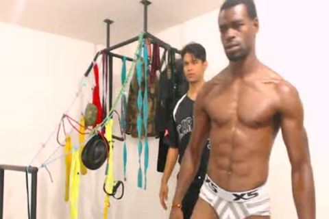 Tairon And Alexandro - Flirt4Free - ebony stud In Army Garb Flexes whilst Latino Buddy Gives Him A Hard cook jerking