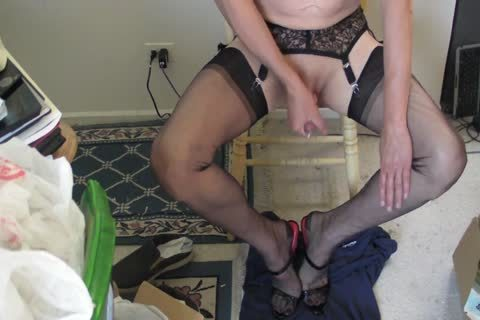 black RHT stockings, Heels And cum