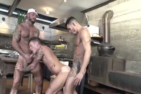 three-some Latinos drilling In The Kitchen