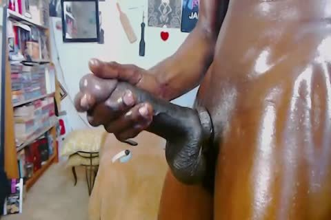 dark homo lad With Monster penis - Oil Jerkoff And large love juice