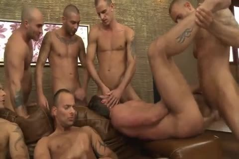Toby Dutch gets hammered In A Seven-fellow bareback bunch gangbang
