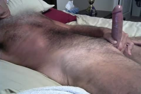 hairy Daddy Jerking On The bed
