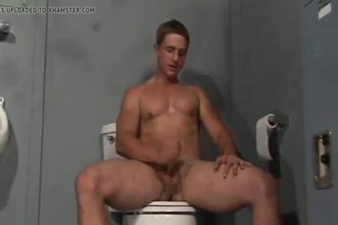 blonde Hunk Solo Jerkoff With fake penis In Restroom