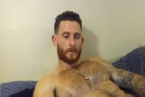 muscular man With Oiled Body Masturbating With His Hard knob