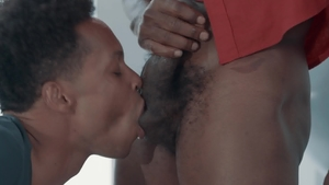 Noir Male: Muscle Fame gagging doggy fucking