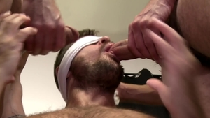 Pride Studios: Piercing and bald Noah Donovan threesome