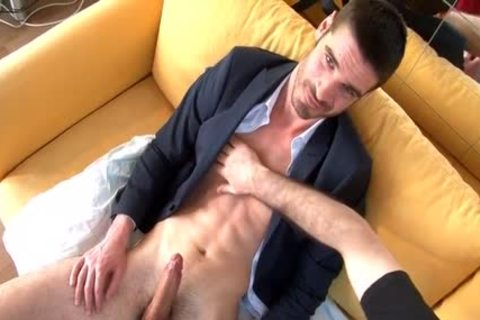 Straight str8 Salesman In Suit Trousers gets Wanked His enormous shlong By A guy