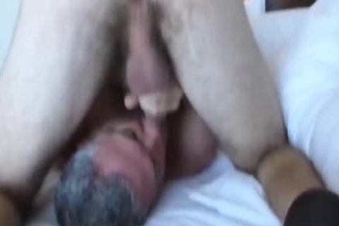Bearded shaggy three-WAY With A chick: RIM-CHAIN blowjob-69-BB-HJ-spooge