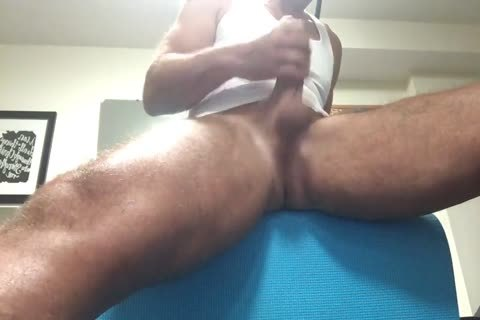 bushy enormous Thighed Daddy Pumps Out his sperm